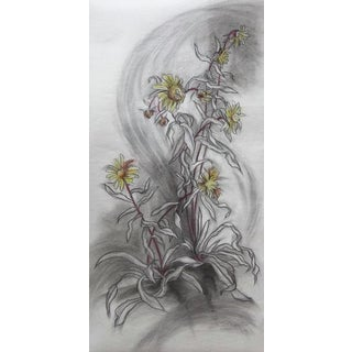 """Botanical Original Large Drawing, """"Beach Flowers 2"""" For Sale"""