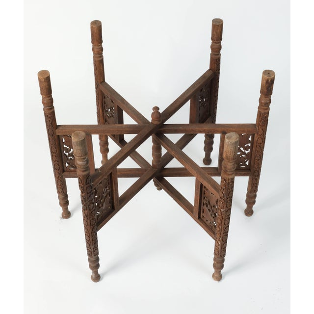 Brass Early 20th Century Middle Eastern Syrian Antique Brass Tray Table With Wooden Folding Stand For Sale - Image 7 of 9