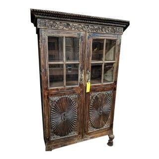 Vintage Folk Art Armoire/Bar Cabinet For Sale