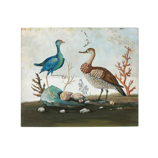Early 21st Century Seaside Birds Painting on Vintage Metal Panel For Sale - Image 5 of 5