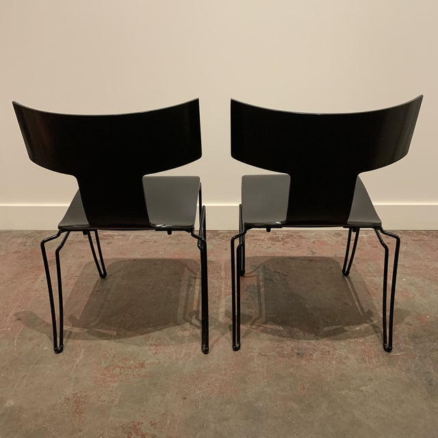 Modern 1960s Vintage Black Anziano Chairs by John Hutton for Donghia - a Pair For Sale - Image 3 of 9