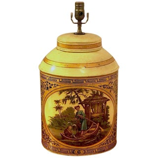 Antique English Chinoiserie #6 Tea Caddy Lamp For Sale