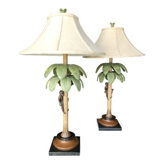 Metal Palm Tree and Wood Monkey Lamps-A Pair For Sale