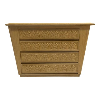 1980s Vintage Carved Blond Wood Four-Drawer Chest For Sale