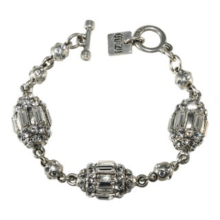 Rodrigo Otazu Bracelet Rhinestones Silver Plated Toggle Clasp For Sale