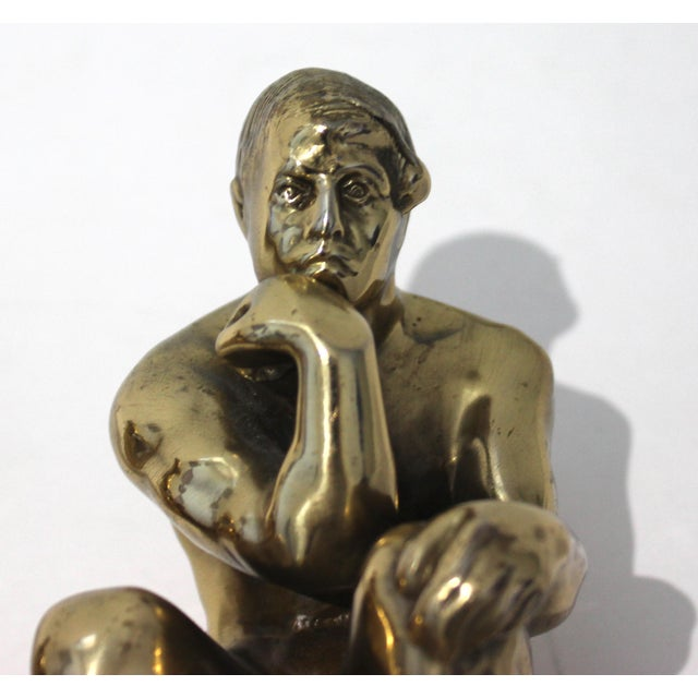 Metal Mid-Century Modern Rodin Thinker Style Bookends Book Ends - a Pair For Sale - Image 7 of 11