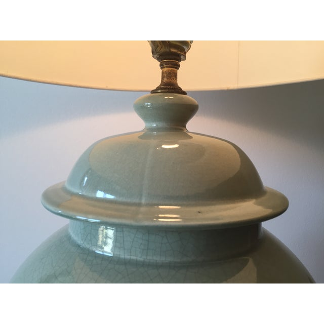 "Vintage Celadon Ginger Jar Lamp-Wood Base-33"" For Sale - Image 5 of 7"
