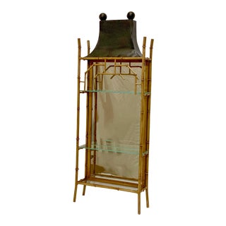 LaBarge Italian Tole Pagoda Chinoiserie Cabinet For Sale