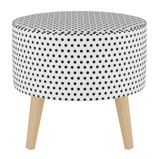 Round Ottoman With Splayed Legs in Polka Dot White Oga For Sale