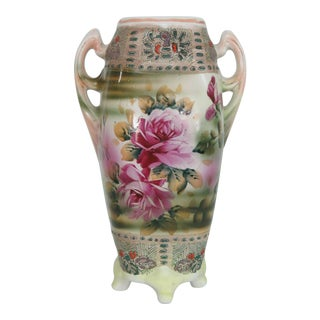 Royal Nishiki Nippon Hand Painted Flowers and Peacock Footed 2 Handled Vase For Sale