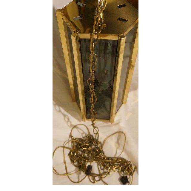 1970s Fredrick Ramond Smoked Glass & Brass Pendant Lamp For Sale - Image 5 of 6