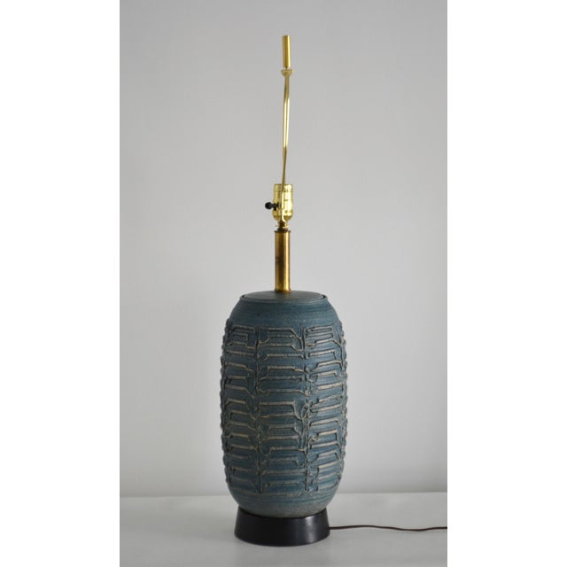 1950s 1950s Mid-Century Hand Thrown Ceramic Table Lamp For Sale - Image 5 of 13