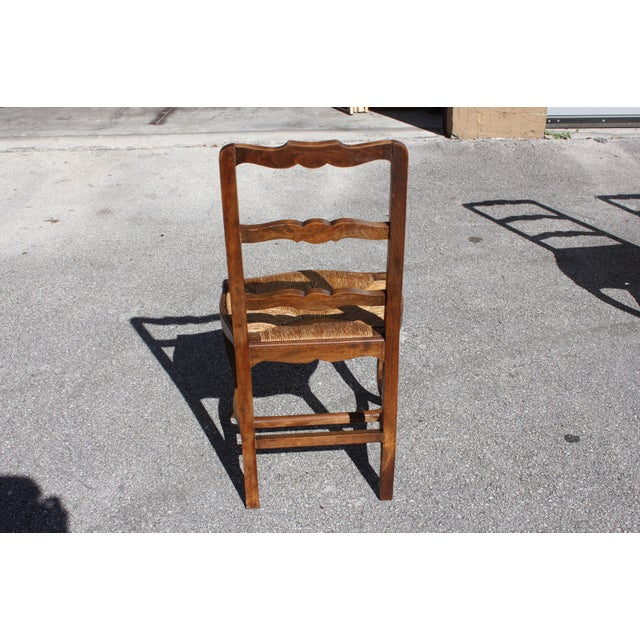 Early 20th C. Vintage French Country Rush Seat Walnut Dining Chairs - Set of 8 For Sale - Image 11 of 13