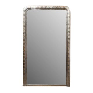 French Tall Silver Leaf Louis-Philippe Mirror with 'X' Motifs, circa 1900