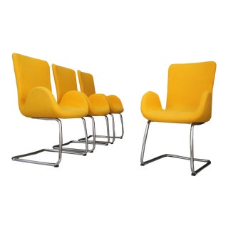 Set of Four MidCentury Armchairs by Moroso With Original Label and Fabric, 1970s For Sale