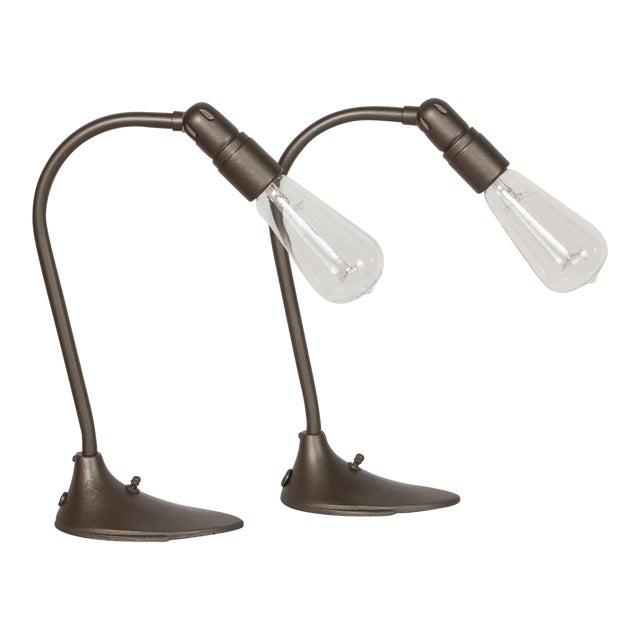 Machine Age Minimalist Desk Lamps - a Pair For Sale