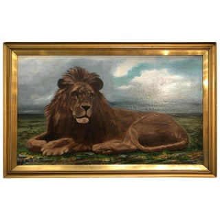 Lion Portrait Painting Majestic Beast Oil on Canvas Signed and Dated S. West For Sale