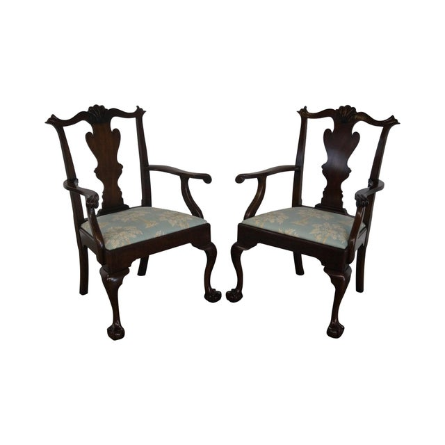 Henkel Harris Mahogany Chippendale Dining Chairs - Pair - Image 1 of 10
