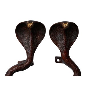 Large Red Brass Cobra Door Handles - A Pair Preview