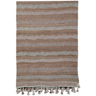 Indian Handwoven Bedcover Ocean Stripe For Sale