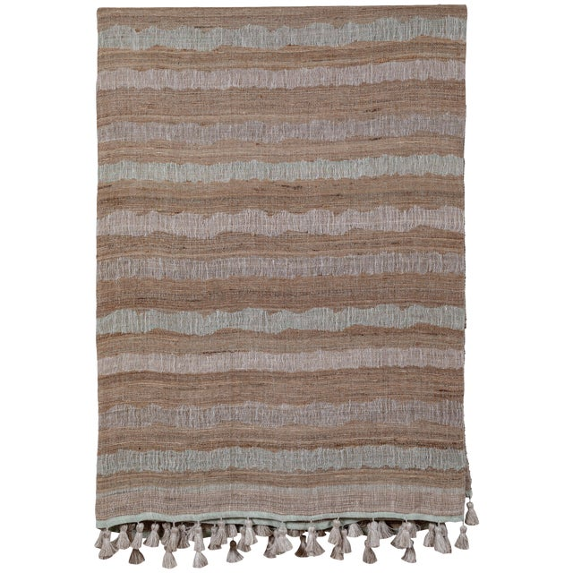 Indian Handwoven Bedcover Ocean Stripe For Sale