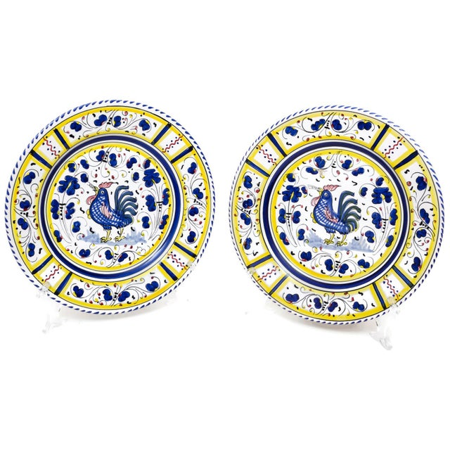 Vintage Hand-Painted Deruta Maiolica Rooster Plates - a Pair For Sale - Image 9 of 9