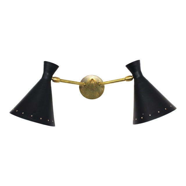 Italian Mid-Century Stilnovo Style Wall Sconce For Sale