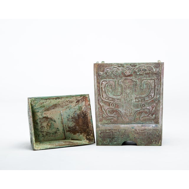 Asian Style 20th Century Chinese Lawrence & Scott Verdigris Bronze Wine Box For Sale - Image 4 of 9