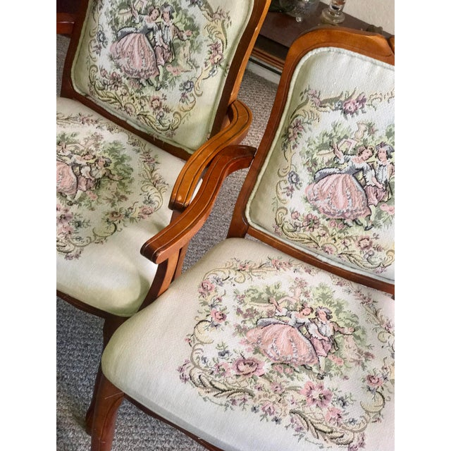 1960s French Provincial Tapestry Salon Chairs - A Pair For Sale - Image 5 of 13