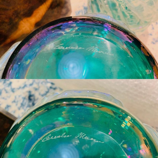 1990s Italian Modern Iridescent Emerald Green Murano Glass Sculpture Vases - a Pair For Sale - Image 5 of 12