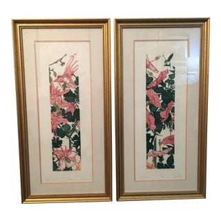 "Judith Hall Limited Edition; ""Duet - Hibiscus"" & ""Duet - Columbine""-a Pair For Sale"