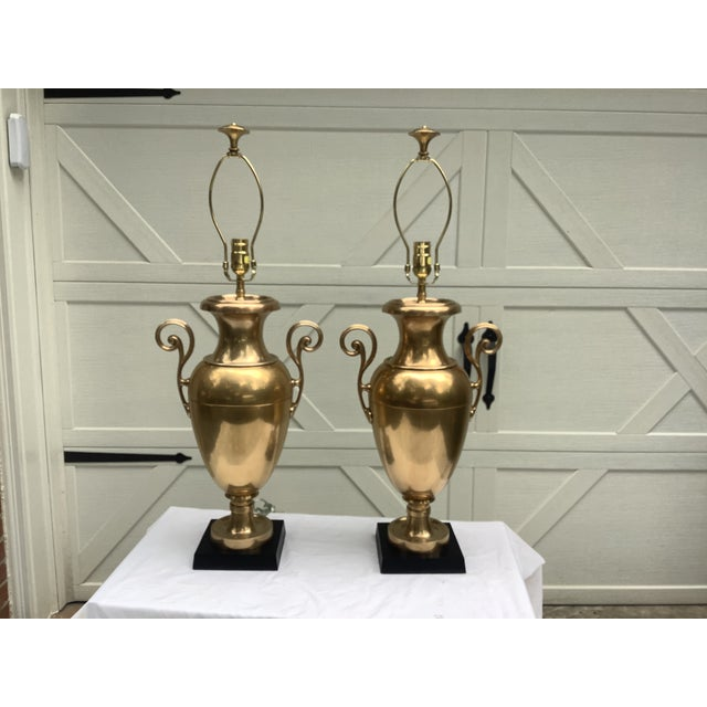 Chapman Brass Urn Lamps, a Pair For Sale - Image 12 of 12