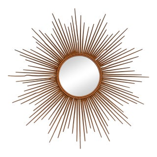 Marked 39 Inches Chaty Vallauris Golden Sunburst Mirror, Wall Mirror France 50s For Sale