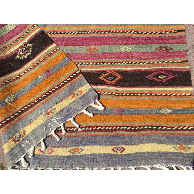 Orange Striped Soft Colored Turkish Kilim Rug For Sale - Image 8 of 9