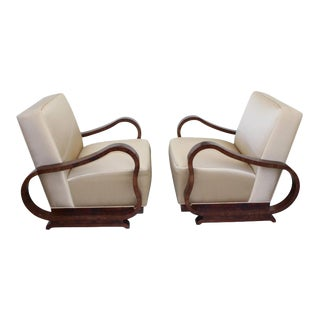 Art Deco 1930s Jindřich Halabala Style Lounge Chairs - a Pair For Sale