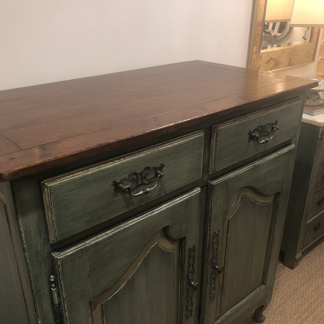 Green Green French Country Cupboard For Sale - Image 8 of 11