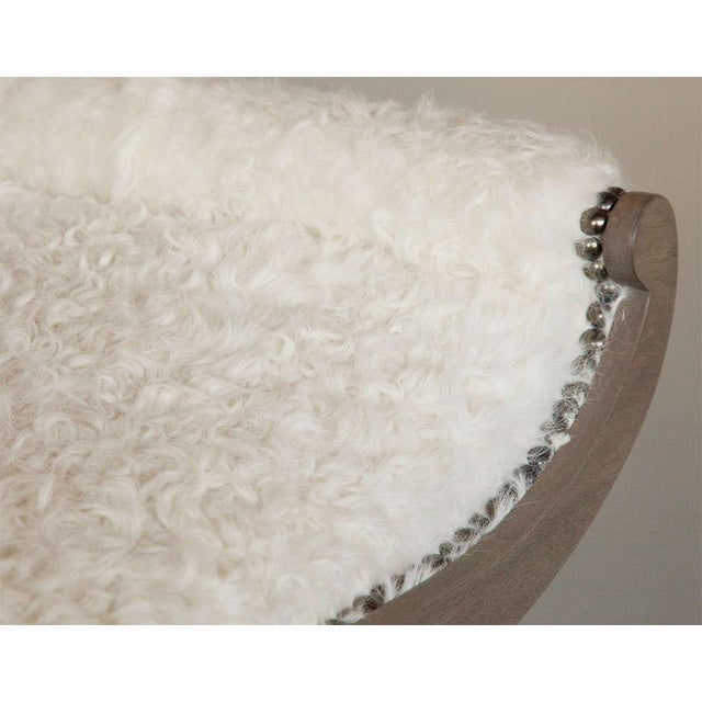 Customizable Paul Marra Neoclassical Bench in Curly Goat - Image 6 of 8