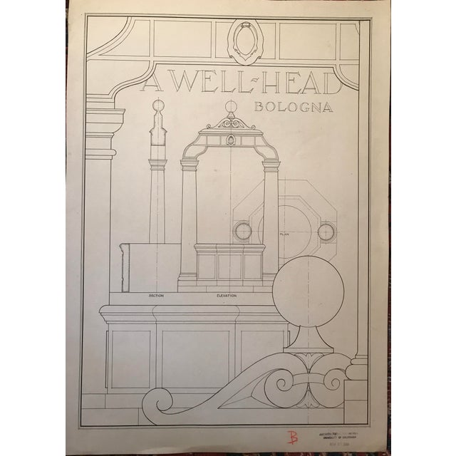 "Ruth Opper 1944 Architectural Drawing ""A Well Head Bologna"" For Sale - Image 9 of 9"