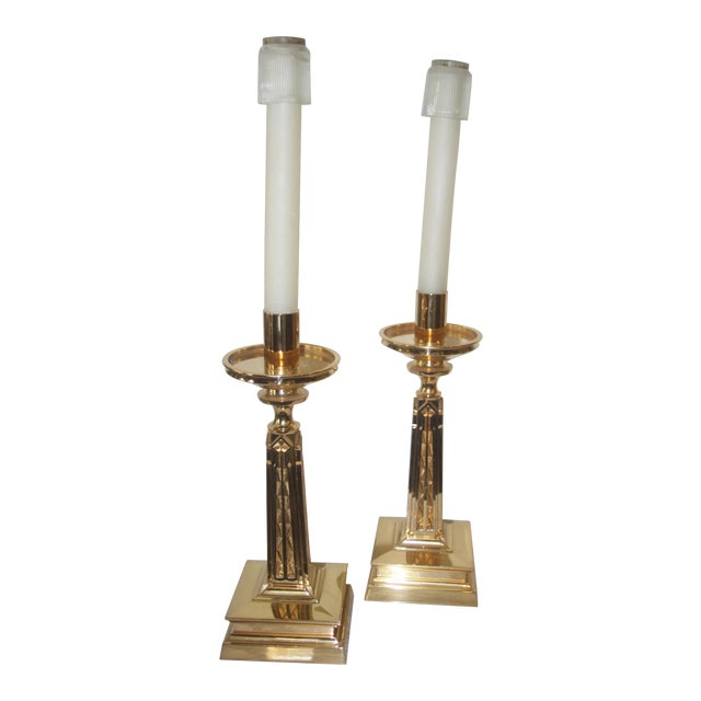 Gold Arts and Crafts Bronze Candleholders - Pair - Image 1 of 6