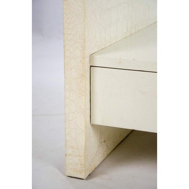 White Karl Springer Albino Python Glass Top Side Table For Sale - Image 8 of 13