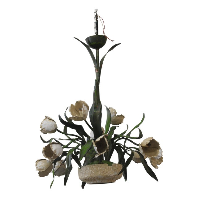 Vintage Ceramic Tulips Chandelier - Image 1 of 6