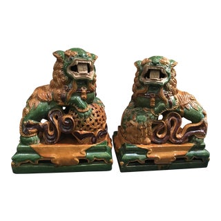 Antique Chinese Pottery Foo Dog Sculptures - A Pair For Sale