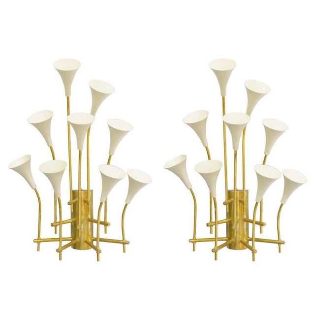 Two Pairs of Trumpets Sconces by Fabio Ltd For Sale - Image 10 of 10