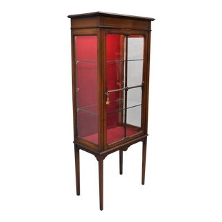 Small Antique Edwardian Mahogany & Glass Inlaid Curio Cabinet Display Etagere