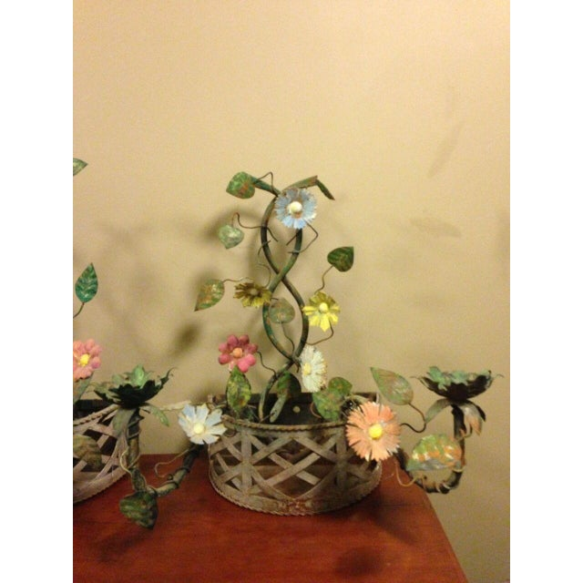 Metal 19th Century French Tole Ware Floral Bouquet Wall Sconces/Baskets - a Pair For Sale - Image 7 of 13