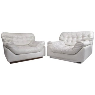 Pair Sculpted Modern Lounge Chairs For Sale