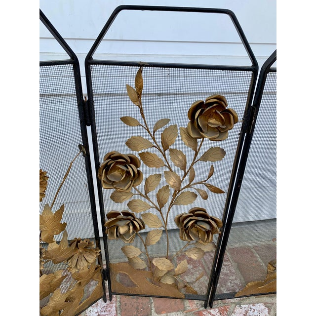 Asian Victorian Floral Fireplace Screen For Sale - Image 3 of 9