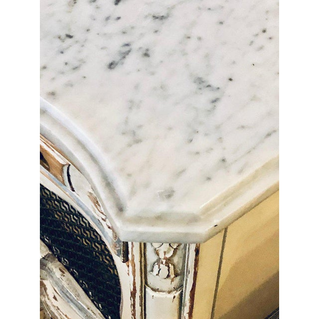 A Distressed Pair of Louis XV Style Marble Top End Tables Bed/Night Side Stand For Sale In New York - Image 6 of 12