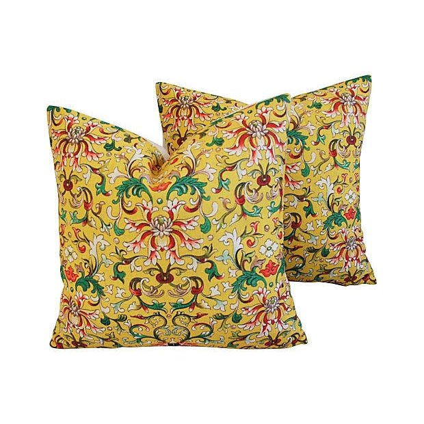 Custom Asian Yellow Floral Linen Pillows - A Pair - Image 1 of 7