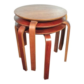 Danish Mid-Century Wood Stools and Side Tables- Set of 3